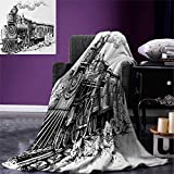 Steam Engine Throw Blanket Rustic Old Train in Country Locomotive Wooden Wagons Rail Road with Smoke Warm Microfiber All Season Blanket for Bed or Couch 50''x30'' Black and White
