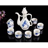 Panbado Service à Saké Chinois Traditionnel Coupe à Saké Verre à Vin en Porcelaine 8 Tasses 1 Carafe Style Antique Zen