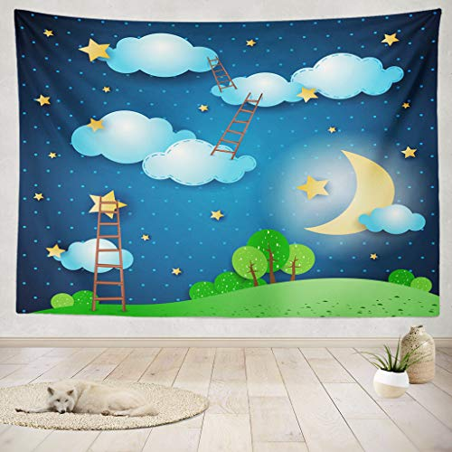 Moonscape Collection - ONELZ Decor Collection, Fantasy Landscape Night Car Star Night Landscape Sky Fantasy Fairy Moon Bedroom Living Room Dorm Wall Hanging Tapestry 50