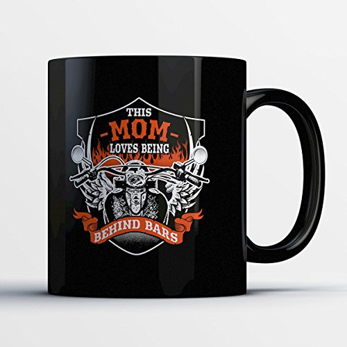 Mom Coffee Mug - Mom Behind Bars - Adorable 11 oz Black Ceramic Tea Cup - Cute Mother Gifts with Mom Sayings