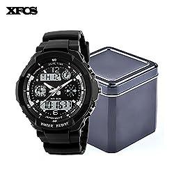 XFCS Waterproof Wrist Digital Automatic Watches For Men Digitais Watch Running Mens Man Digitales Clock(With Retail Metal Box)-Silver