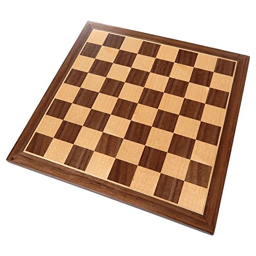 Chronos Chess Board with Inlaid Walnut Wood – Board Only – 11 Inch ()