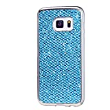 Samsung Galaxy S4 Mini Case, KSHOP Ultra Thin TPU Silicone Bumper Case Cover with [Electroplating Technology] Bling Glitter Soft Gel Back Case Cover for Samsung Galaxy S4 Mini-Blue