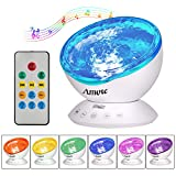 AMOTE Ocean Wave Lights Projector with Remote Control Built-in Mini Music Player Night Light 12 Led 7 Colorful Effect for Bedroom Kids