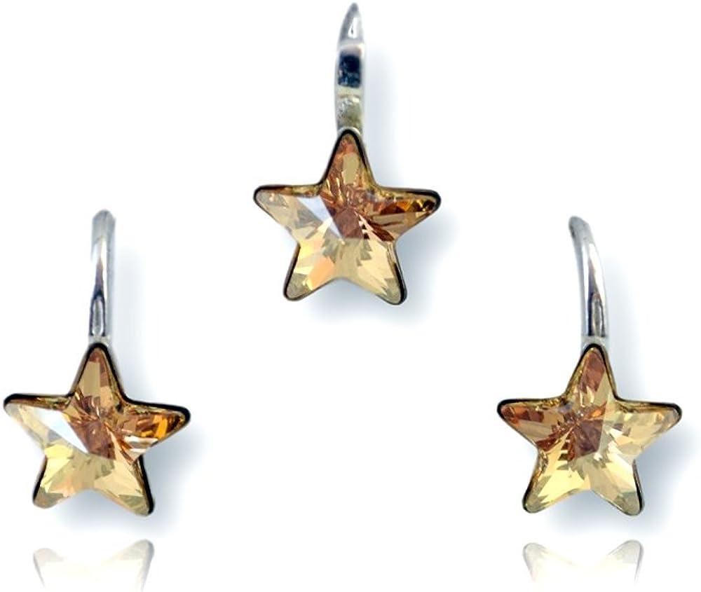 Crystals & Stones Estrella * * * Golden Shadow * Chica Joyas–Set * Schön joyas con cristales de swarovski elements–Fantástica Pendientes y collar con caja de regalo