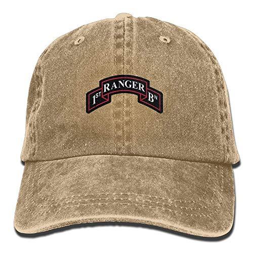 SweetieP US Army Retro 1st Ranger Battalion Unisex Adjustable Cotton Denim Hat Washed Retro Gym Hat Cap ()