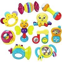 iPlay, iLearn 10pcs Sonajeros para bebés Mordaza, Agitador, Agarre y Spin Sonajero, Juego de juguetes musicales, Juguetes educativos tempranos para 3, 6, 9, 12 meses Bebé, recién nacido