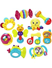 10 Baby Rattles Teether, Ball Shaker, Grab and Spin Rattle, Musical Toy Gift Set for Baby Infant, Newborn - iPlay, iLearn BOBEBE Online Baby Store From New York to Miami and Los Angeles