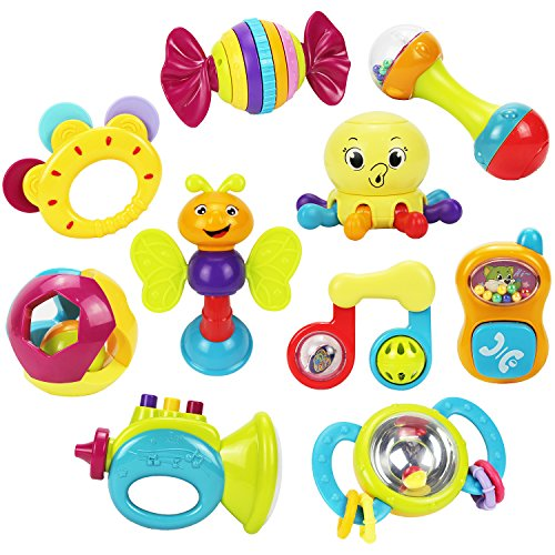 iPlay, iLearn 10pcs Baby Rattles Teether, Shaker, Grab and Spin Rattle, Musical Toy Set, Early Educational Toys for 3, 6, 9, 12 Month Baby Infant, Newborn (Rattles Toys Set)