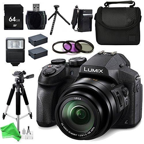 Panasonic LUMIX DMC-FZ300K 4K FZ300, Point and Shoot Camera with Leica DC Lens 24X Zoom, (Black) + 64GB SD Memory Card + Card Reader & Deluxe DigitalAndMore Accessory BUNDLE by DigitalandMore