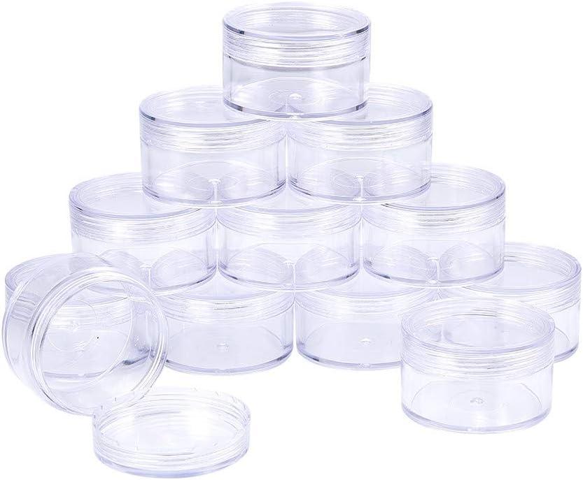 BENECREAT 12 Pack (50ml) Recipiente Vacío de Almacenamiento Bote de Plástico Transparente con Tapas de Rosca para Cuentas,Brillo,Maquillaje,Cosmeticos y Crema