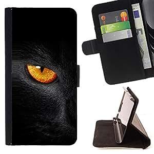 BullDog Case - FOR/Samsung Galaxy Core Prime / - / Black Cat Fire Eye /- Monedero de cuero de la PU Llevar cubierta de la caja con el ID Credit Card Slots Flip funda de cuer