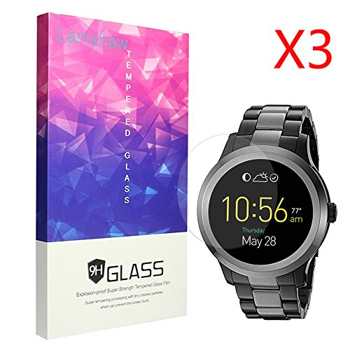 Price comparison product image Fossil Q Founder Gen 2 Screen Protector, Lamshaw 9H Tempered Glass Screen Protection for Fossil Q Founder Gen 2 (3 pack)