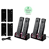 GPCT Wii Remote Dual Charger Dock With 2 Rechargeable Batteries & Docking Station + LED Lights For Wii Remote Control (Nintendo Wii (Black/2 Pack))