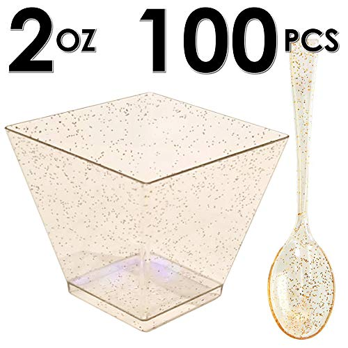 DLux 100 x 2oz Square Mini Dessert Cups with Spoons, Gold Glitter Clear Plastic Parfait Appetizer Cup - Small Disposable Reusable Serving Bowl for Tasting Party Desserts Appetizers - With Recipe Ebook -