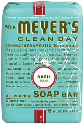 Mrs. Meyer's Bar Soap, Basil (Pack of 6)
