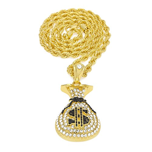 MCSAYS Fashion Hip Hop Hip Pop Fashion18k Gold Palted Stainless Steel Iced Out Crystal Necklace with US Dollars Bag Pendant Cuban Rope Chain Unisex by MCSAYS