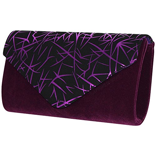 trim compact envelope bag prom gold Wocharm Purple handbag bag clutch ladies evening suede faux Wedding shoulder vwqaP