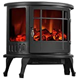 1500W Heater 23'' Standing Electric Fireplace Stove Realistic Flame Adjustable + FREE E-Book