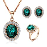 Yoursfs Kate Middleton Earring Necklace Ring Jewelry Set for Women 18K Rose Gold Plated Green Crystal Wedding Sets