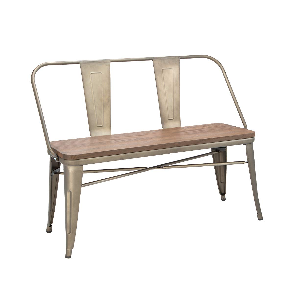 Erommy Metal Bench Industrial Mid-Century 2 Person Chair with Wood Seat,Dining Bench with Floor Protector