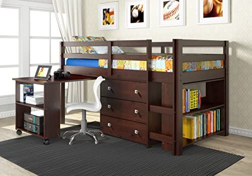 home, kitchen, furniture, bedroom furniture, beds, frames, bases,  beds 11 on sale DONCO Kids Low Study Loft Bed, Dark Cappuccino promotion