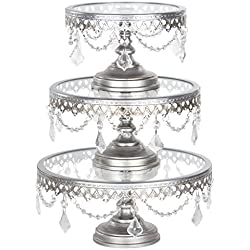 Victoria Antique Silver Cake Stand Set of 3, Round Glass Plate Metal Dessert Cupcake Pedestal Wedding Party Display with Crystals