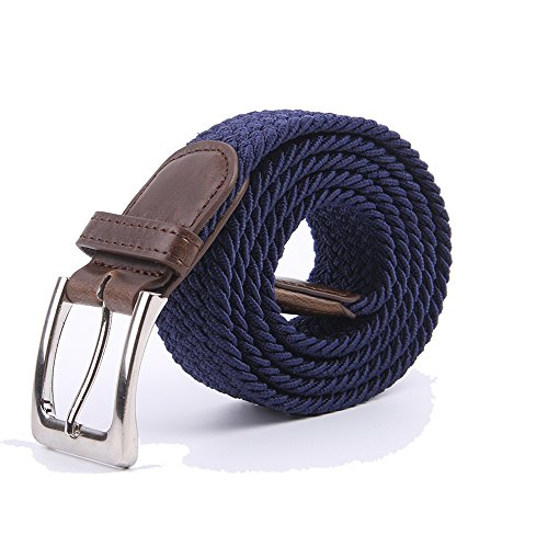 Canvas Elastic Fabric Woven Stretch Multicolored Braided Belts 2041-NavyBlue-L ()