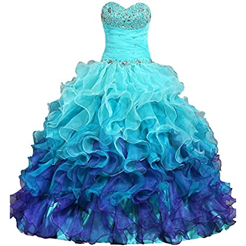 ANTS Womens Gorgeous Strapless Rainbow Quinceanera Dresses Ruffle Prom Gowns Size 14 US Turquoise