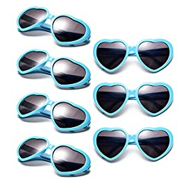 Neon Colors Party Favor Supplies Wholesale Heart Sunglasses for Kids (7 Pack Blue)