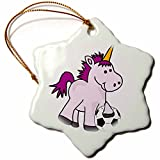 3dRose Funny Cool Baby Unicorn Playing Soccer Cartoon Snowflake Ornament, 3''