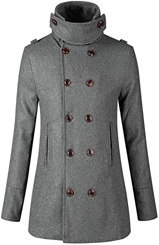 Luxfan Mens Wool Double Breasted Pea Coats Winter Trench Jacket Overcoat
