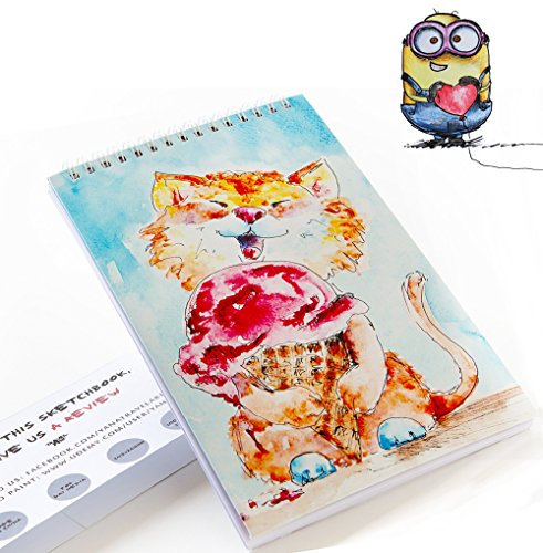 Sketchbook for Kids: 50 Sheets for Drawing With Tutorial on How to Draw a Cool Minion - Cute Cat on Hardcover - Spiral Acid Free Journal or Pad - Best Designs