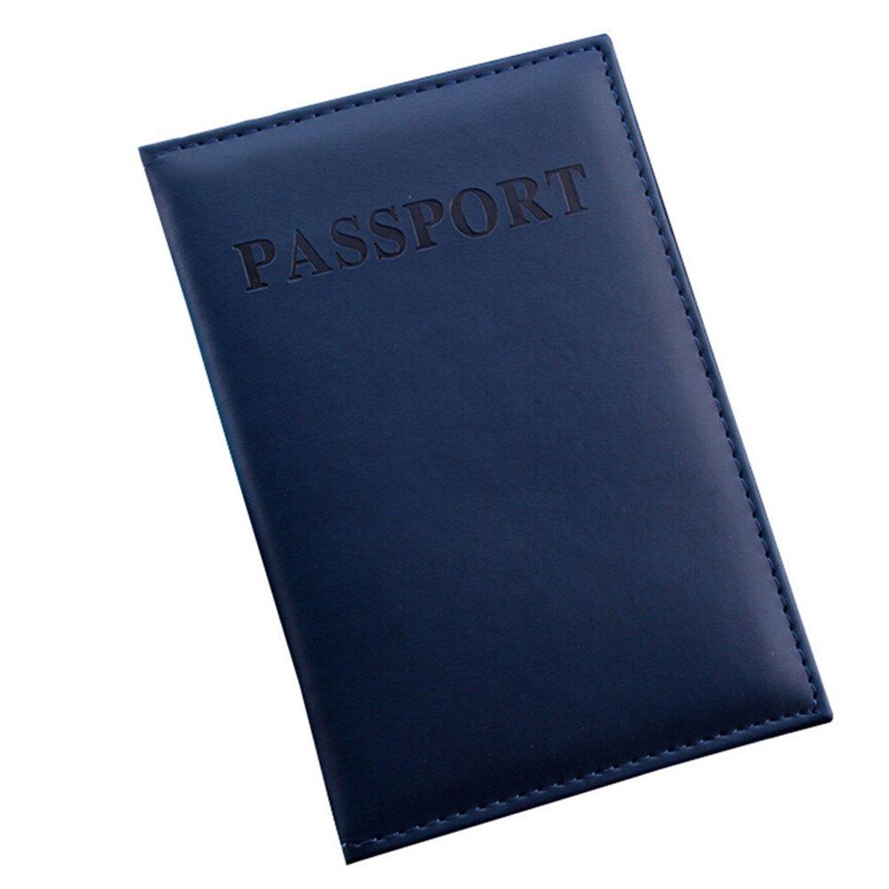 Faux Leather Travel Passport ID Card Cover Holder Case Organizer - Dark Blue