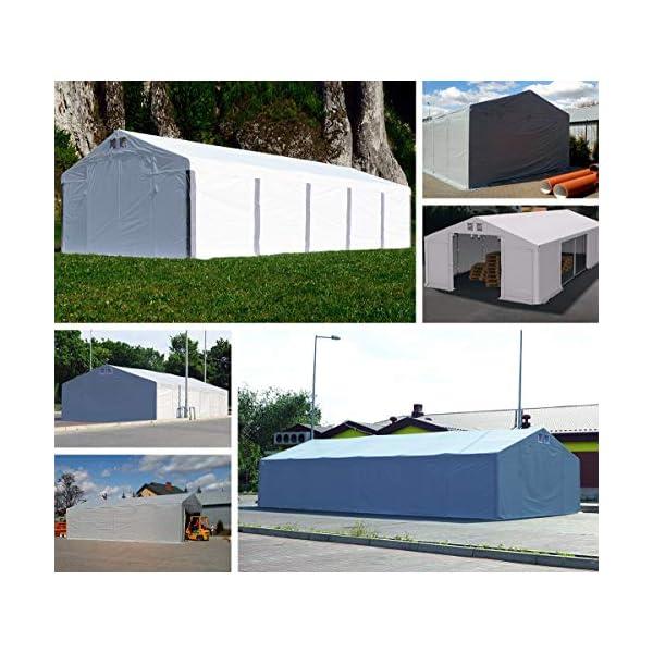 Das Company Tendone Deposito 4x16x3,5 m Tendone Bianco ignifugo Impermeabile 620g/m² Tenda da stoccaggio Rinforzo dell… 5 spesavip