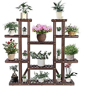 VIVOSUN 3 Tier Bamboo Hanging Plant Stand Foldable Planter Shelves Flower Pot Organizer Storage Rack Display Shelving…