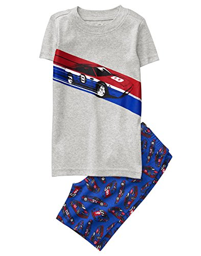 Crazy 8 Boys' Little 2-Piece Tight Fit Pajama Set (Short Sleeve), red/Blue Racecar, 7 ()