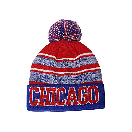82615dd1cdd Chicago Cubs Cuffed Knit Hats. Chicago Men s Blended Stripe Winter Knit Pom  ...