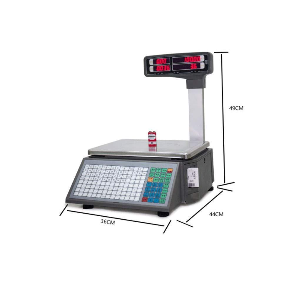 ZNND Escalas Electronicas, LED HD Doble Cara Monitor Supermercado Código De Barras Etiqueta Alta Precisión 30Kg / 5g Peso Impermeable Humedad Corrosión ...