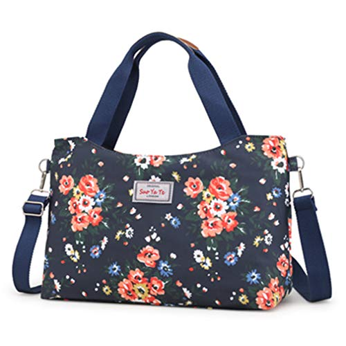 Bag blue Bags dark Shoulder Women Floral Cross Messenger Hobo Canvas Body v5wqx8z