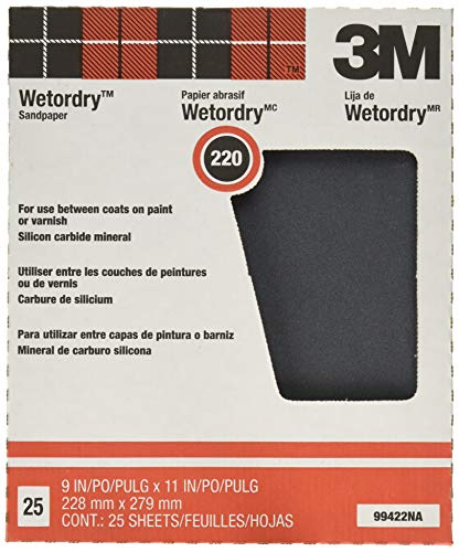 3M Pro-Pak Wetordry Sanding Sheets, 220A-Grit, 9-Inch by 11-Inch,1 Pack of 25 ()