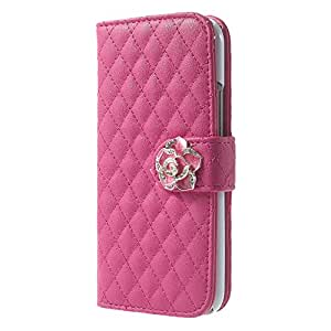 JUJEO Chic Rhombus Stand Leather Cell Phone Case for HTC One M8 - Non-Retail Packaging - Rose