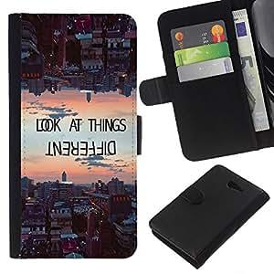 KingStore / Leather Etui en cuir / Sony Xperia M2 / Les choses différemment de motivation