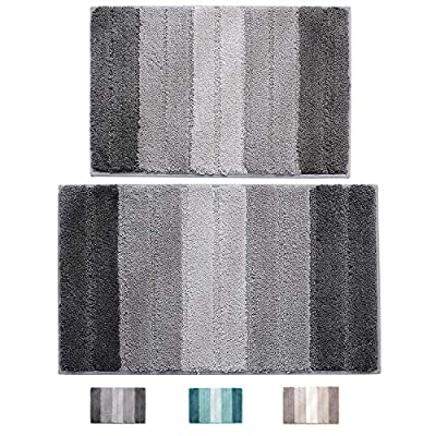 "wovwvool Bathroom Rugs Plush mat Polyester Microfiber Non-Slip,Soft,Absorbent and Machine (20""×32"" and 18""×26"" Gray) - (Anti-skid)- with a durable, latex backing, helps keep bath mats safe and protects the family as you leave the bathroom or bathtub. And it is more durable, (Softness)- The use of Plush mat gives home textile fabric a thick feeling, with high-grade luxury, soft feeling, full suede, and good drape, so that it can protect your feet from the chill. Our Plush mat has a higher density and softness, which will make you feel more comfortable. (Care)- Plush mat carpets are easy to care for. You can wash them with washing machines, but please don't wash them with hot water. Plush mat is made of superfine fiber, so it does not shrink or become rough after washing. So, it can always keep your carpets the same as the new one. - bathroom-linens, bathroom, bath-mats - 51EYJ PcYhL. SS400  -"