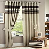 Curtina Harvard Stripe Print Eyelet Lined Curtains, Chocolate, 90 x 90 Inch