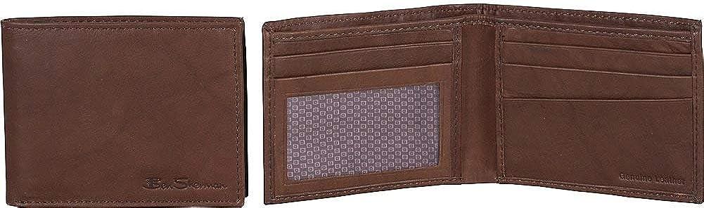 Ben Sherman Mens Manchester Slim Bifold Full-Grain Leather RFID Minimalist Gift Box Wallet