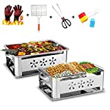 Barbecue Portable Grill, Stainless Steel BBQ Charcoal Grill, Griddle Cooking Appliance for Garden