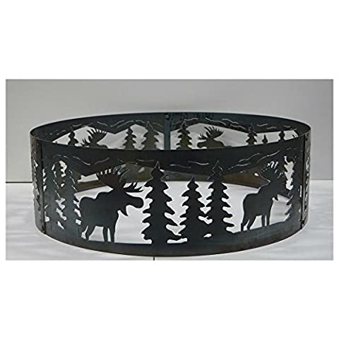 PD Metals Steel Campfire Fire Ring Moose Design - Unpainted - Extra Large 60 d x 12 h Plus Free (Moose Fire Pit Ring)