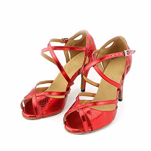 Cxs Ladies Open Toe Party Tacchi Da Sposa Scarpe Da Ballo Per Salsa Tango E Pratica, 2,75 Tacco Rosso