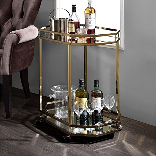 ACME Furniture 98197 Lacole Serving Cart, One Size, Mirror and Champagne by Acme Furniture